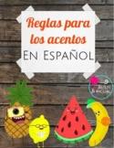 Reglas para los acentos de Español / rules for Spanish accents