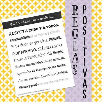 Reglas positivas para la clase de español
