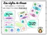 Règles de classe thème aquarelle FRENCH Classroom rules Wa