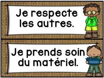 Règles de vie - Classroom Rules - Thème: burlap (toile)