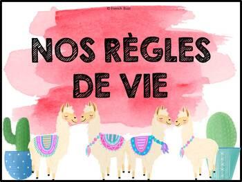 Règles de vie - Classroom Rules - Thème: cactus et lamas