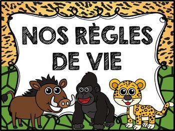 Règles de vie - Classroom Rules - Thème: jungle et safari