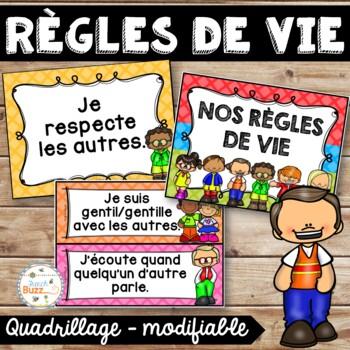 Règles de vie - Classroom Rules - Thème: quadrillage