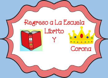 Regreso a la Escuela Librito y Corona Back to school book and crown