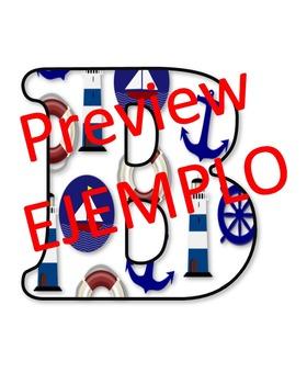 Regreso a la escuela con letras náuticas para decorar