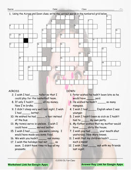 Regret Modal Verbs Interactive Crossword Puzzle for Google Apps