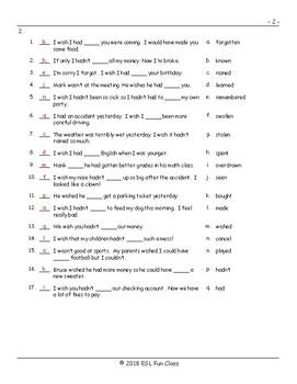 Regret Modal Verbs Matching Exam