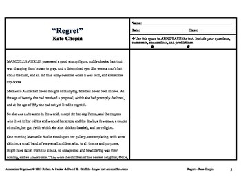 """""""Regret"""" by Kate Chopin: Annotation Organizer"""