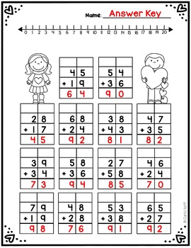 Valentine Addition & Subtraction With Regrouping  - Freebie