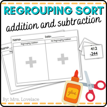Regrouping Addition and Subtraction Sort:  cut/paste, borrowing, carrying