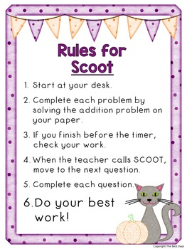Regrouping Addition in the Tens Place Scoot Math Game: Halloween Theme