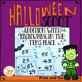 Double Digit Regrouping in the Tens Place Scoot Math Game: Halloween Theme