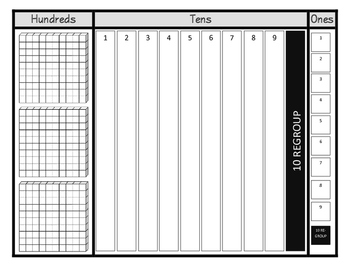 Regrouping Mat for Ones, Tens and Hundreds