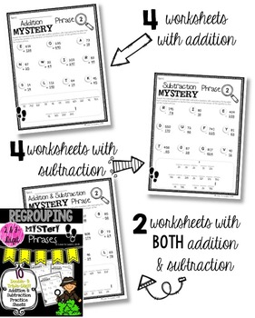 Regrouping Math Mystery Phrases (2- & 3-Digit)