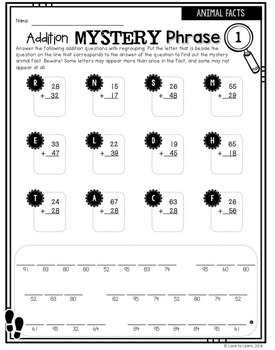 Regrouping Math Mystery Phrases - Animal Facts Version
