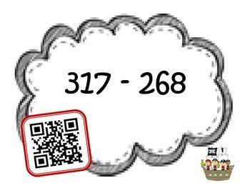 Regrouping +/- QR code fun {3 digit by 3 digit}