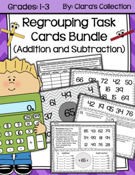 Regrouping Task Cards Bundle (Addition and Subtraction)