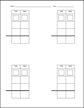regrouping template for 2 and 3 digit addition or subtraction tpt. Black Bedroom Furniture Sets. Home Design Ideas