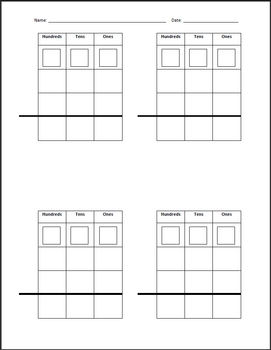 Regrouping Template for 2 and 3 Digit Addition or Subtraction