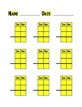 Regrouping Templates for 2 and 3 Digit Addition or Subtraction