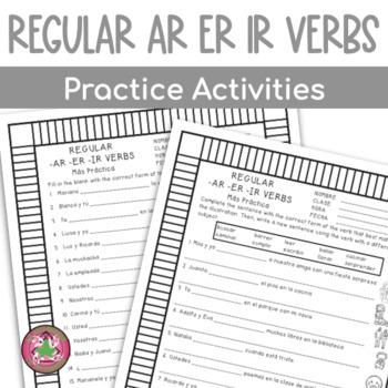 Regular -AR, -ER, and -IR Practice