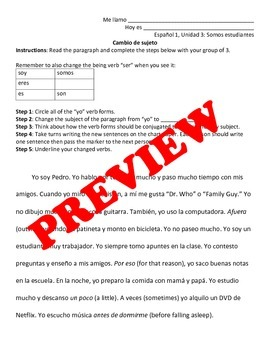 Regular -AR Verb Activity Handouts: Drill and Group Paragraph