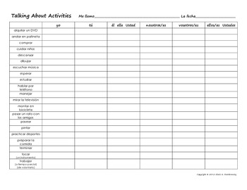 Regular AR Verb Conjugation Grid: Talking About After School Activities