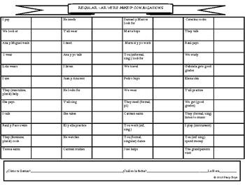 Regular AR Verbs Mixed Conjugation Chart