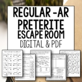Regular AR Verbs Preterite Break Out Escape Room for Spanish
