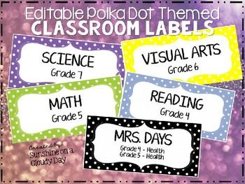 Polka Dot Themed Classroom Bin Labels