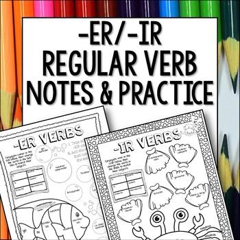 Regular ER IR Verbs Doodle Pages Worksheets Notes Spanish
