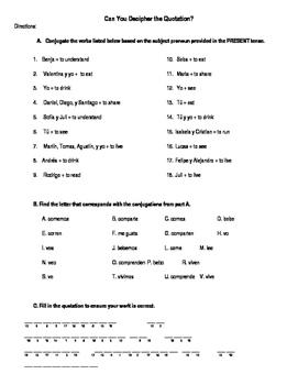 Regular ER & IR verb Decipher the Quotation