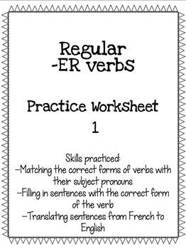 Regular -ER Verb Practice Worksheet 1