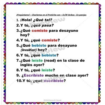 REGULAR Preterite Verbs -ER and -IR PRETERITE Verb Questions  ¡Olé!