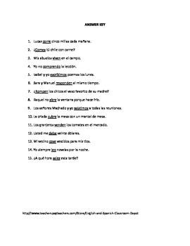 3 Present Tense Regular ER and IR Verbs Worksheets