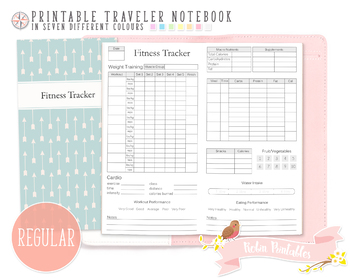 graphic relating to Free Printable Traveler's Notebook Inserts named Regular monthly Health and fitness Tracker Traveler Laptop Refill