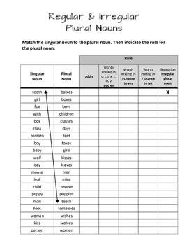 Regular & Irregular Plural Nouns