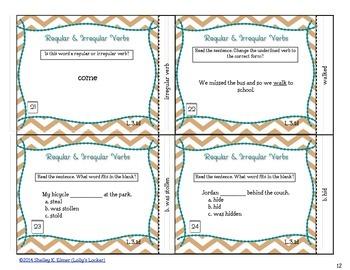 Regular & Irregular Verb Task Cards L.3.1d