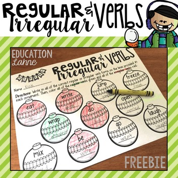 Regular & Irregular Verbs {Christmas FREEBIE}