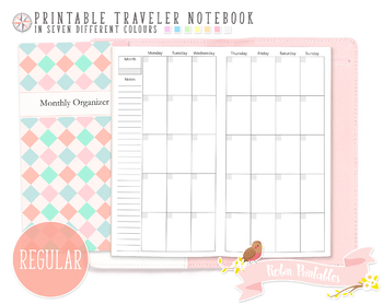 Regular Monthly Organizer Traveler Notebook Refill