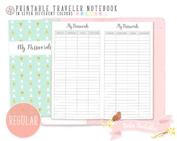 Regular Password Log Traveler Notebook Refill