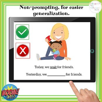 Regular Past Tense Actions Boom Cards™  NO PRINT Speech Therapy