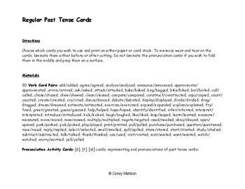 Regular Past Tense Cards (Without Pictures)
