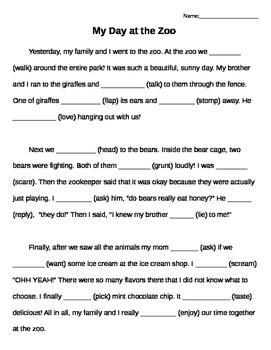 Regular Past Tense English Verbs Cloze Activity