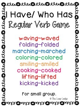 Regular Past Tense Verb Game