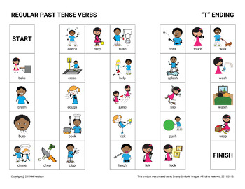 Regular Past Tense Verbs Board Games
