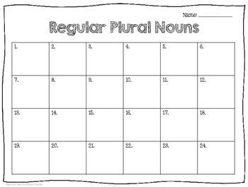 Regular Plural Noun Task Cards