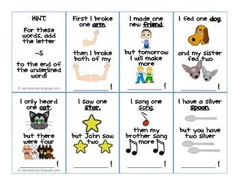Regular Plural Nouns Flash Cards (2 pages)