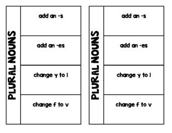 Regular Plural Nouns Foldable