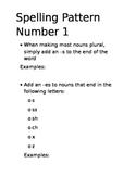 Regular Plural Nouns Spelling Rule Sheet